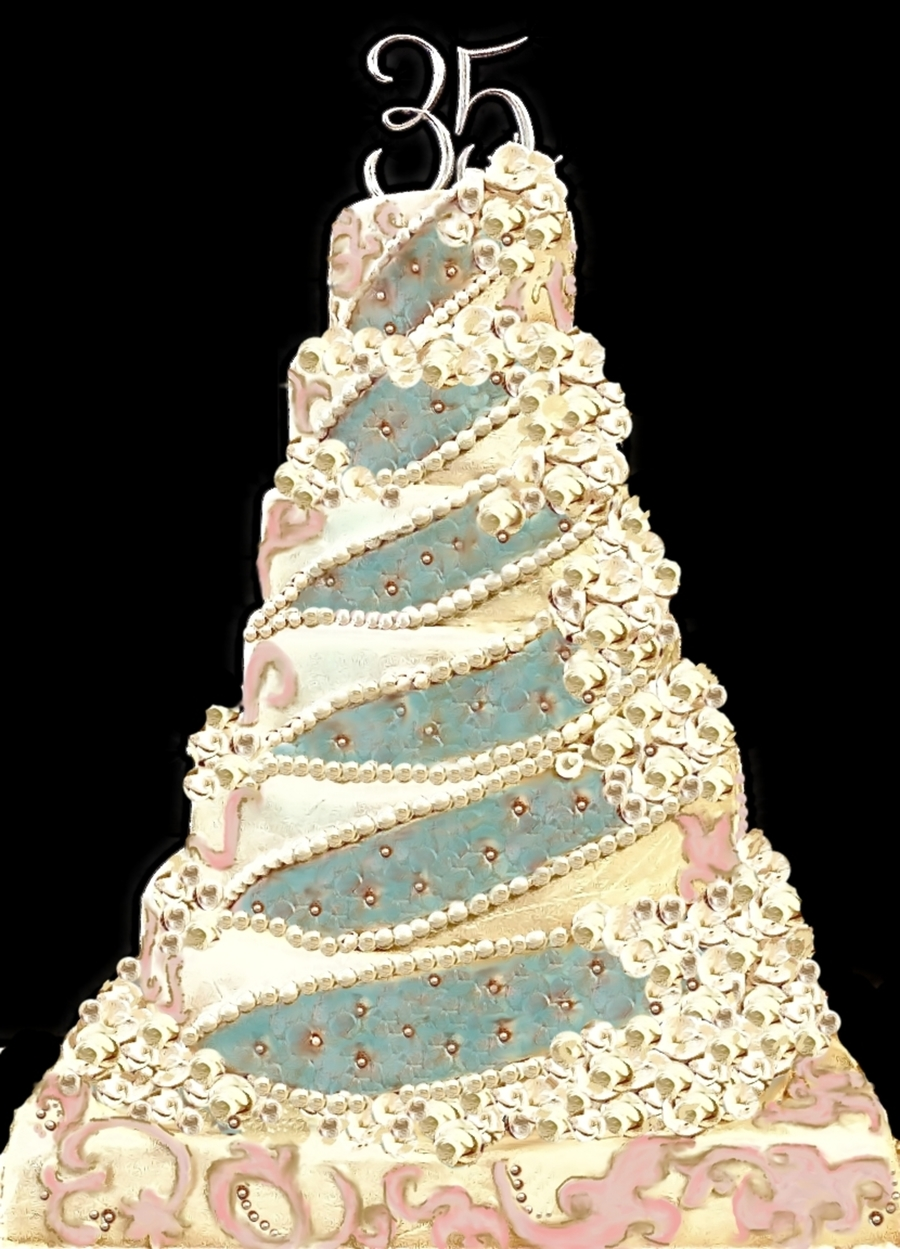 Teal And Champagne Wedding Cake on Cake Central