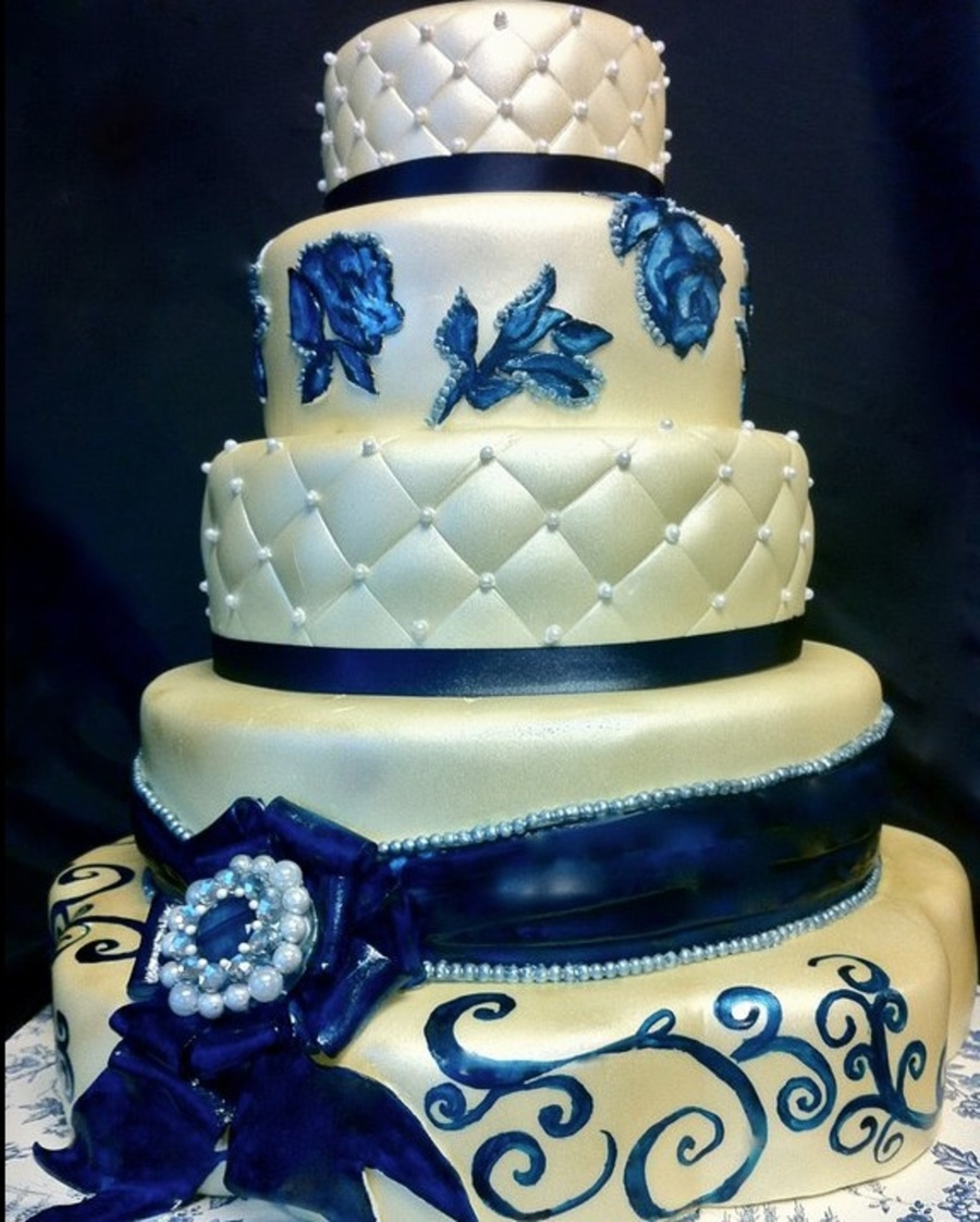 Navy Blue And Ivory Wedding Cake - CakeCentral.com