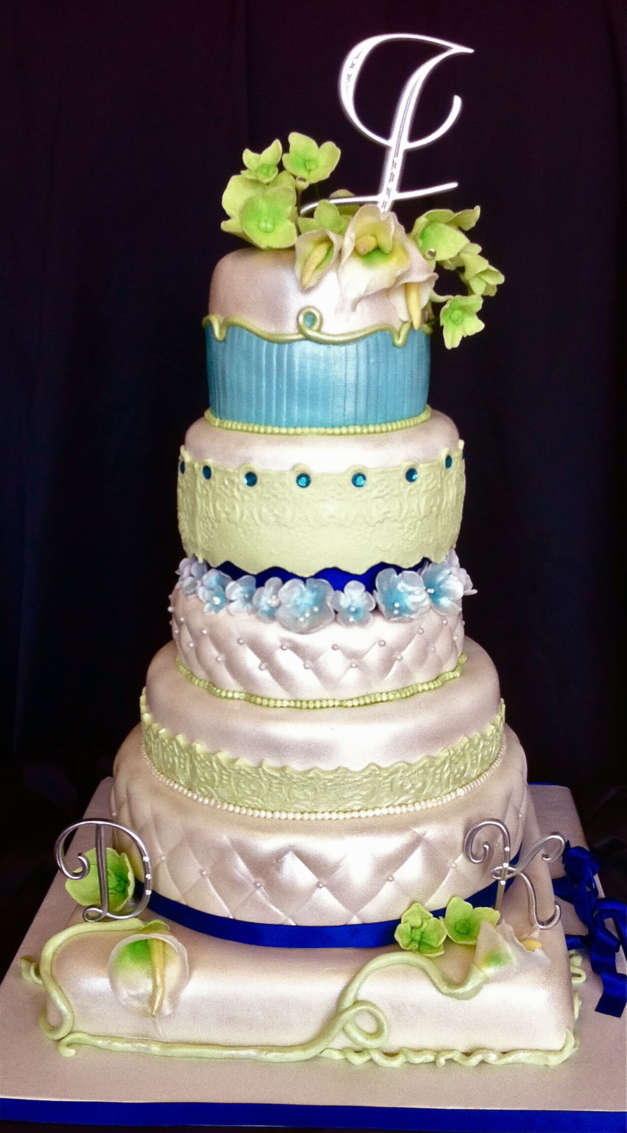 Sky Blue And Lime Green Wedding Cake - CakeCentral.com