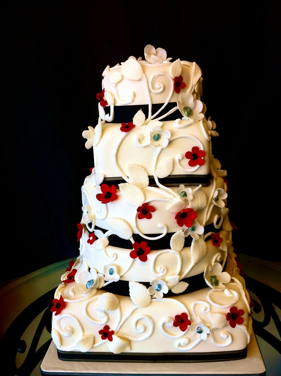 Red, White, And Black Scrolled Vines Wedding Cake - CakeCentral.com