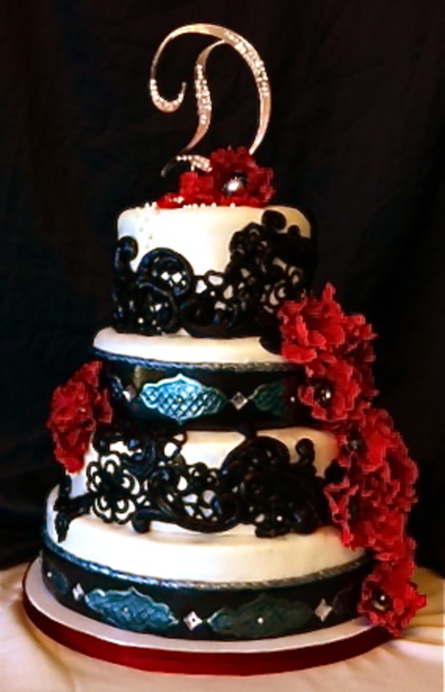 White Red And Black Lace Wedding Cake On Central