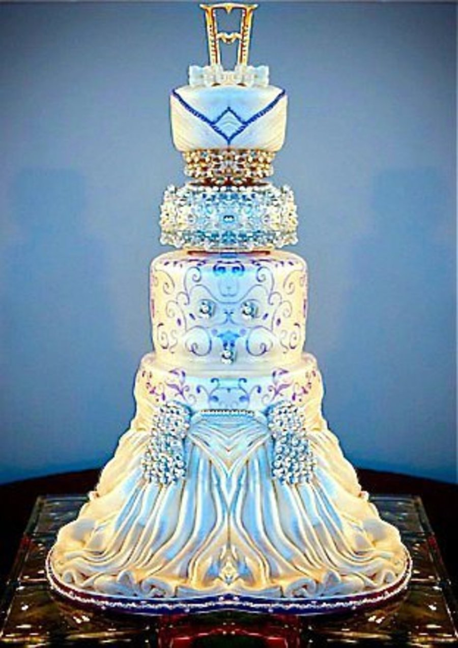 Elegant Blue And White Wedding Cake on Cake Central