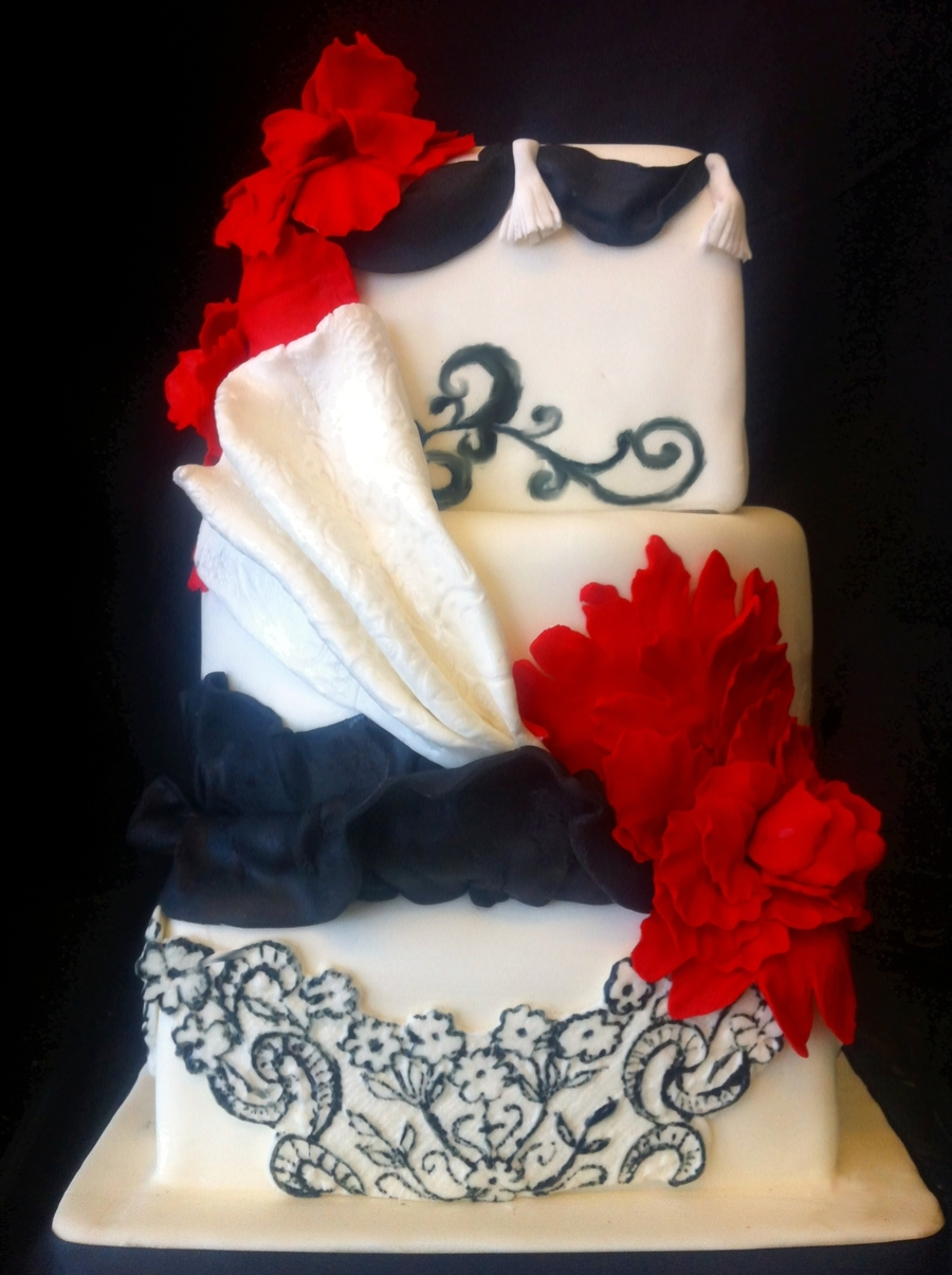 Red White And Black Wedding Cake - CakeCentral.com