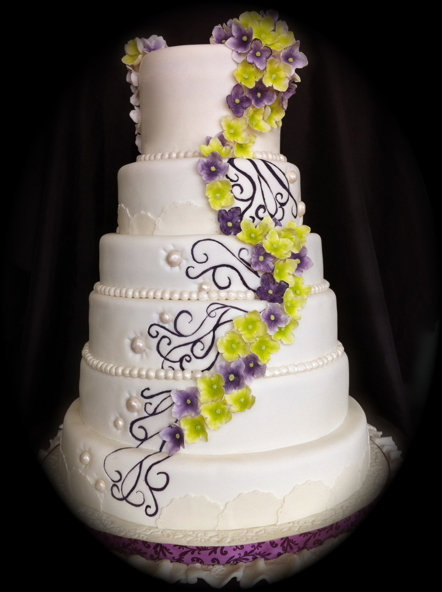 Purple And Green Hydrangea Wedding Cake - CakeCentral.com