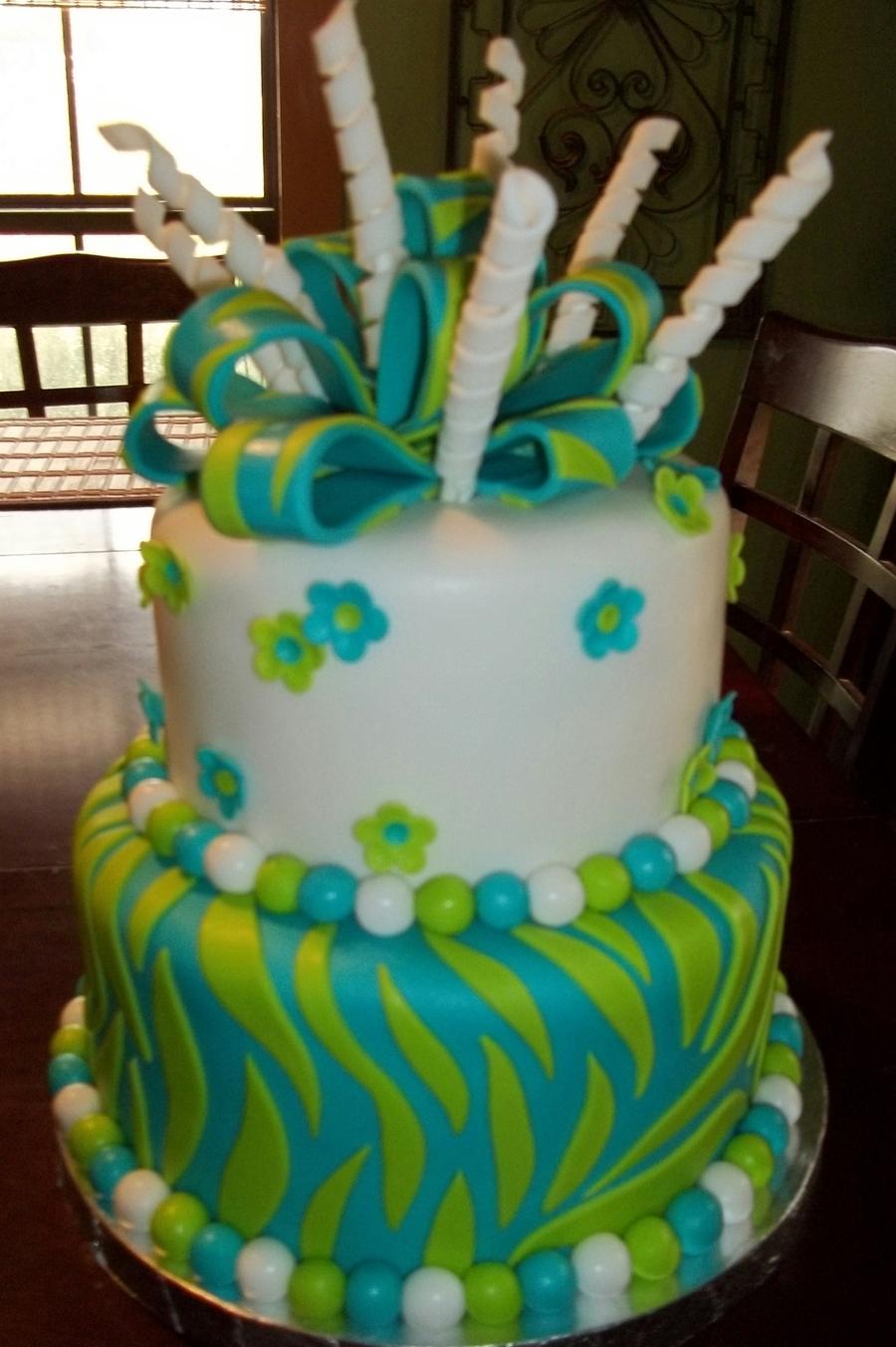 Groovy Green Blue Zebra Birthday Cake Cakecentral Com Birthday Cards Printable Inklcafe Filternl