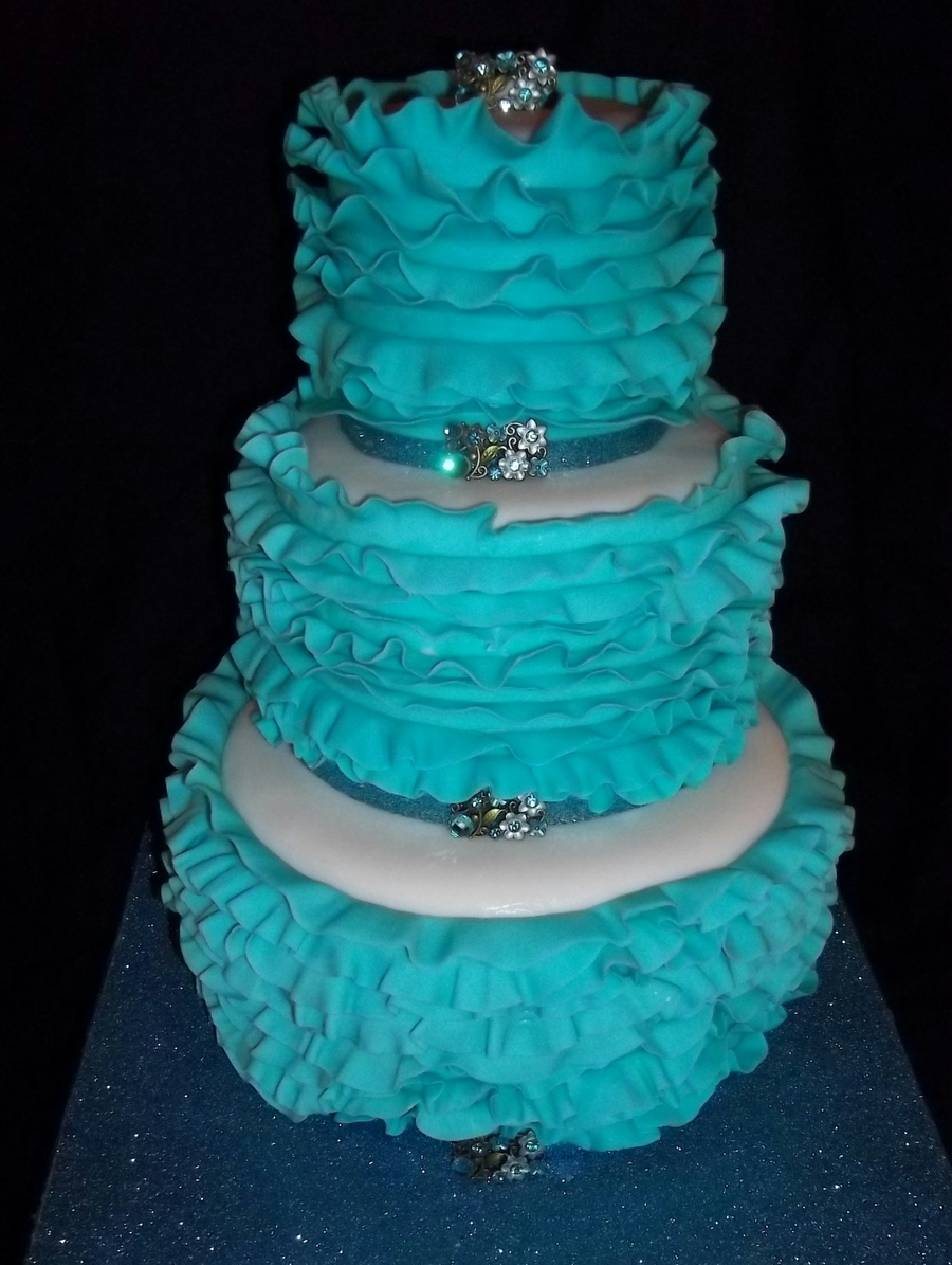 Three Tiered Light Blue Ruffled Cake on Cake Central