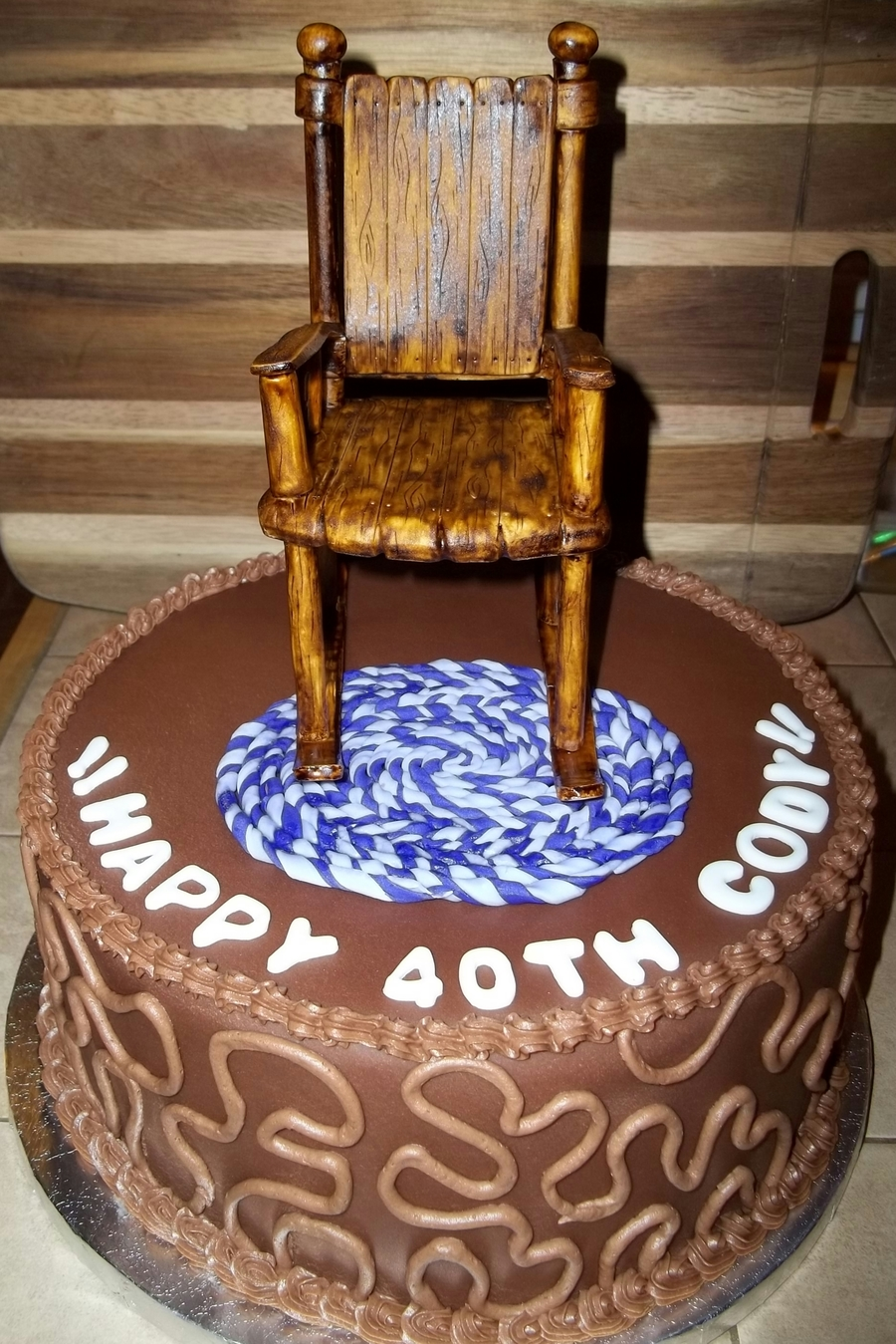 Over The Hill 40th Birthday Cake With Rocking Chair