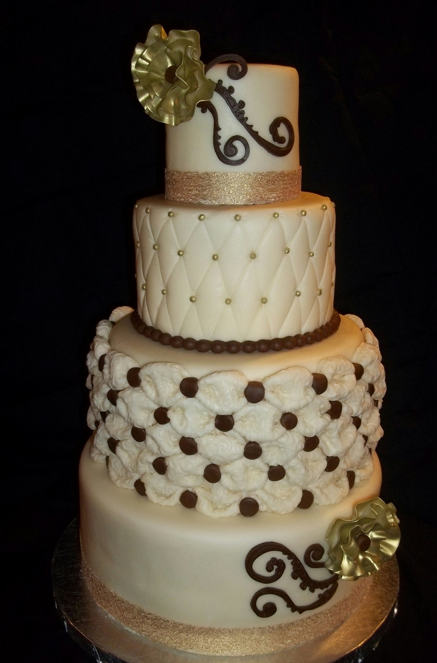 Four Tier Ivory, Gold, And Brown Wedding Cake on Cake Central