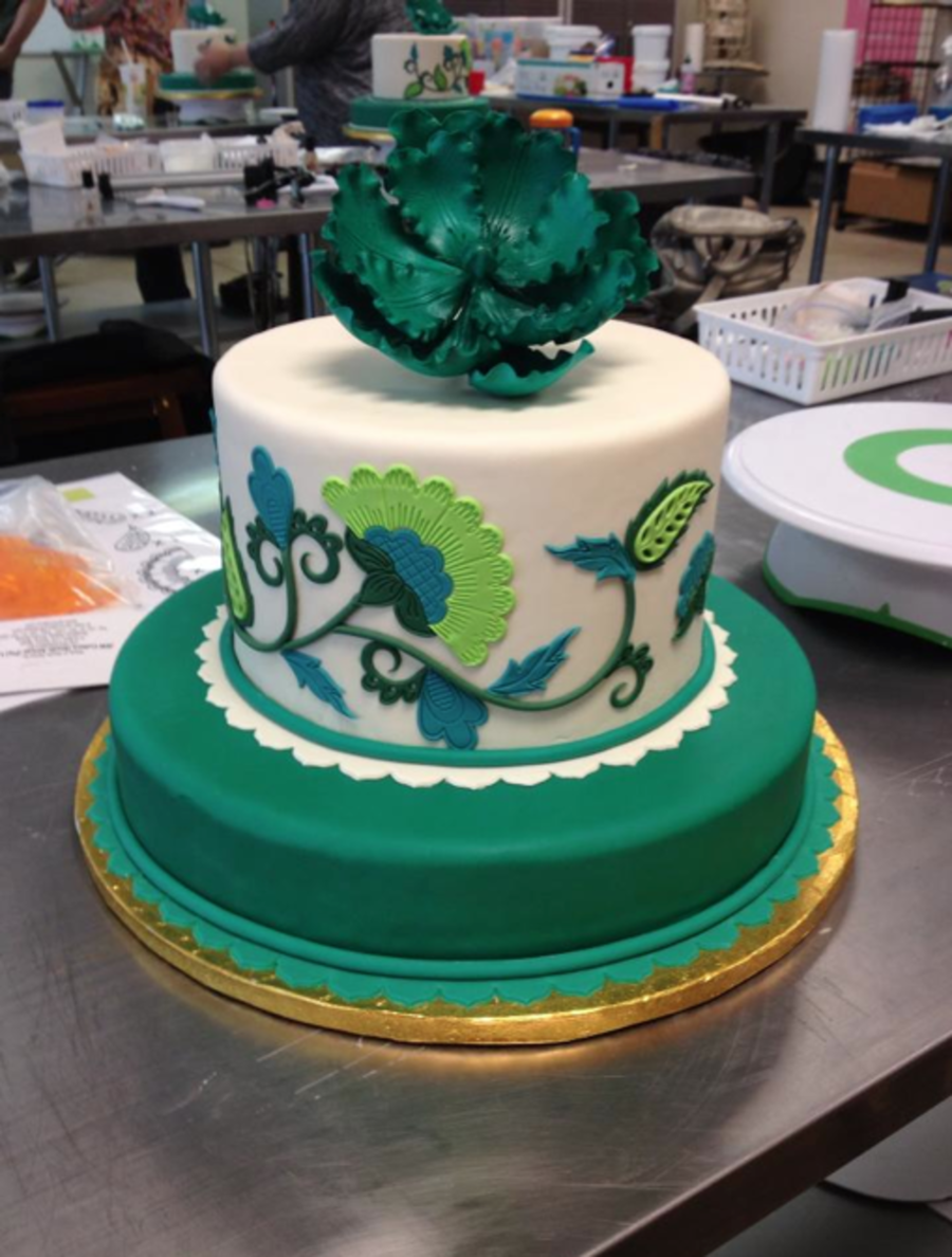 This Is Another Cake I Made In Swank Cake Designs Jacobean Class They Are So Sweet And The Class Was Wonderful Very Thankful I Got To on Cake Central
