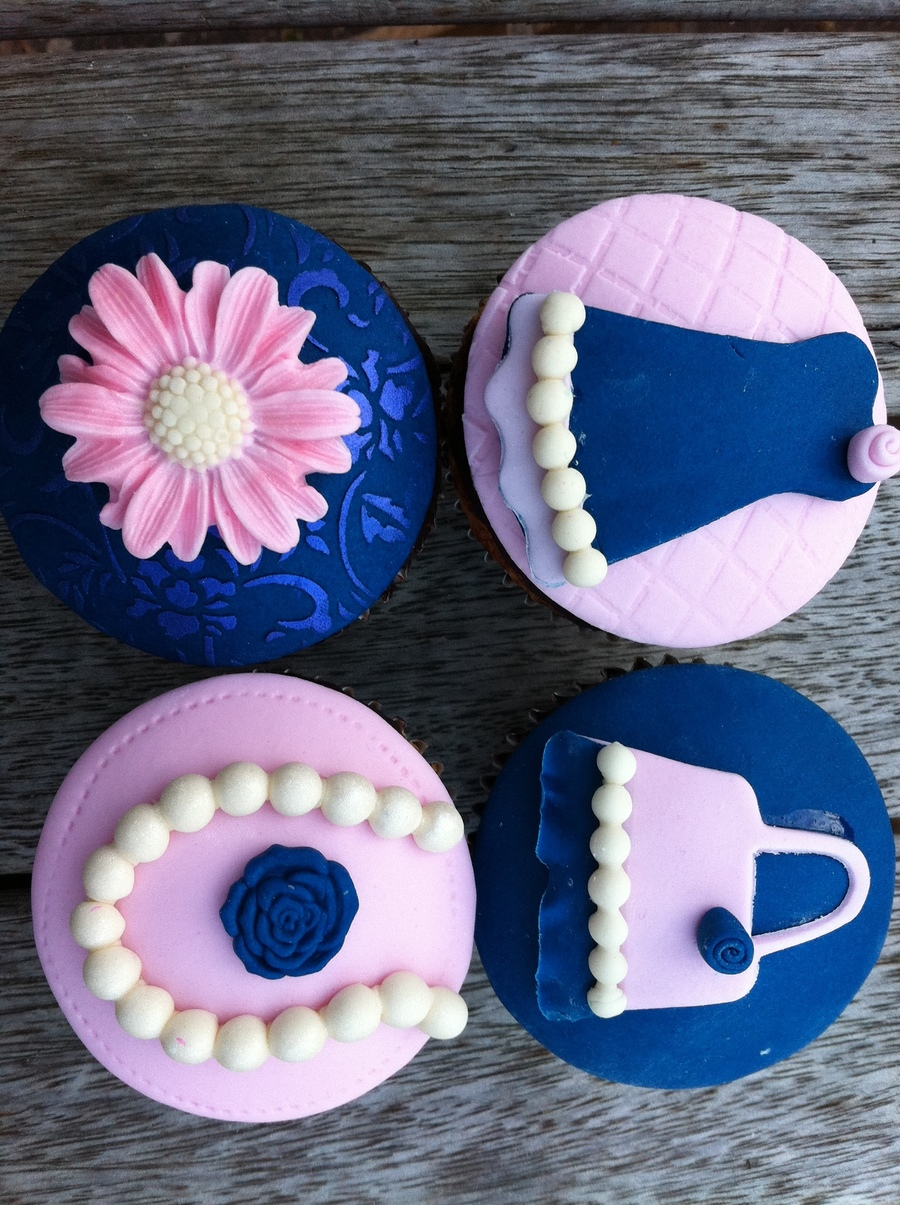 Navy And Pink Cupcakes  on Cake Central