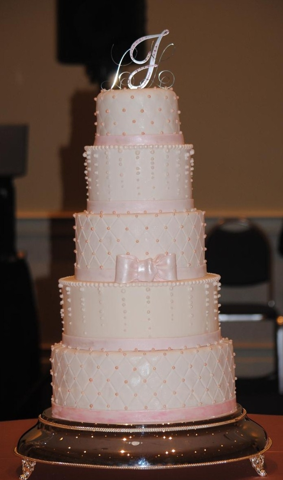 Pink Pearl Wedding Cake  on Cake Central