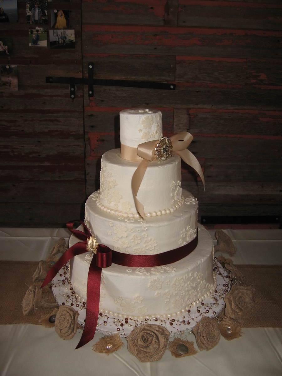 Burgundy & Tan Rustic Wedding on Cake Central