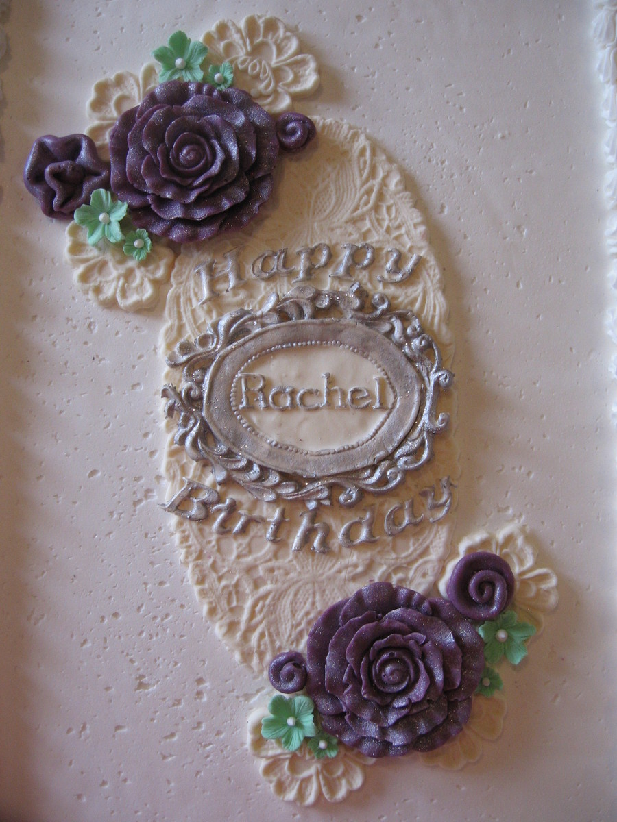 Purple Cabbage Roses & Lace on Cake Central