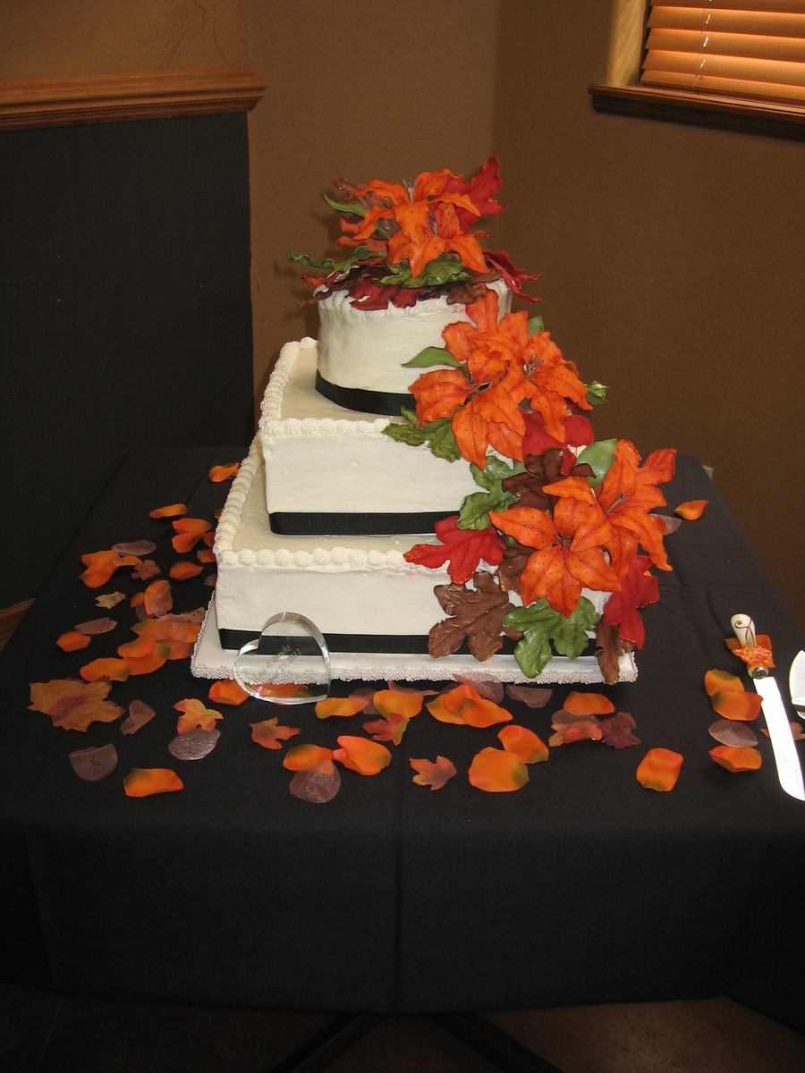 Tiger Lilies And Fall Leaves on Cake Central