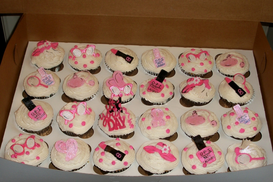 Girls Birthday Cupcakes For A Beauty Shop Birthday on Cake Central