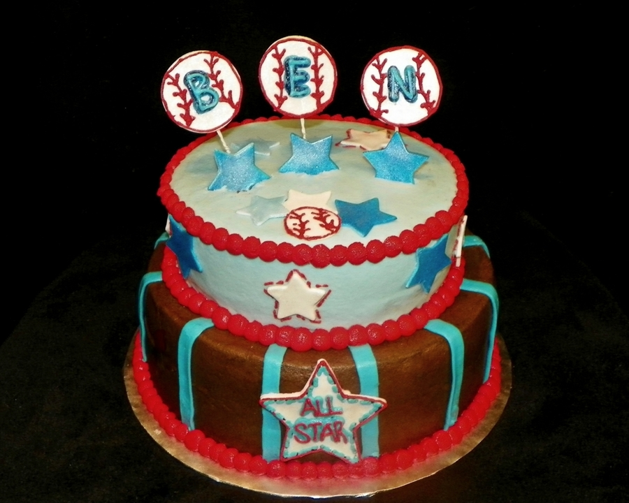 Baby Boy Baseball Shower Cake on Cake Central