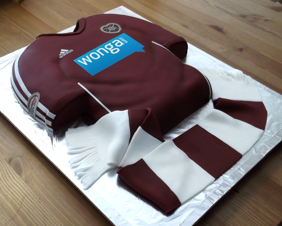 Heart Of Midlothian Football Top Cake. on Cake Central