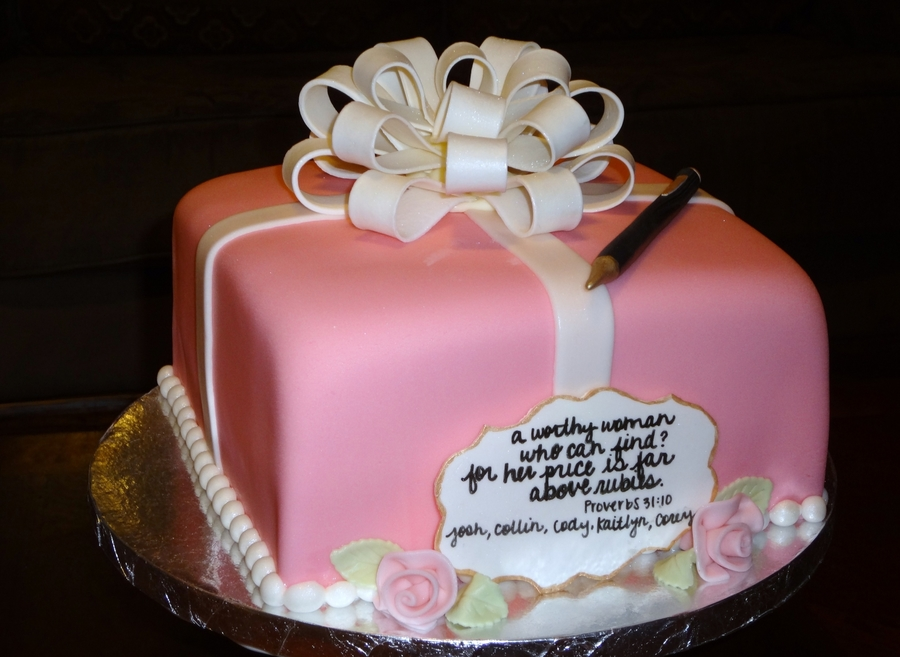 Pink And White Present on Cake Central