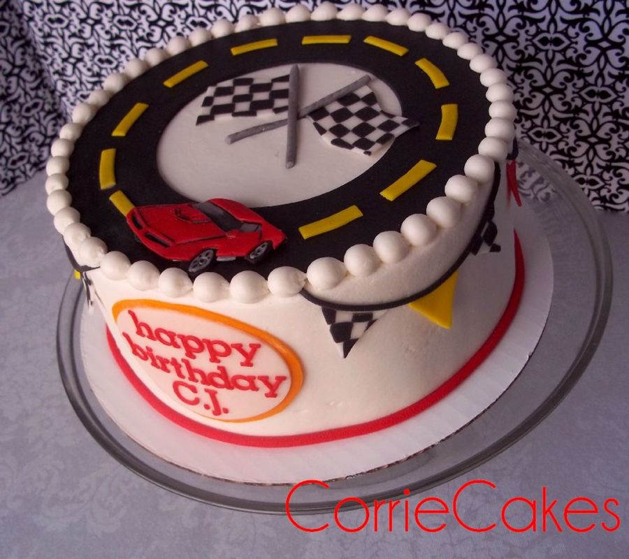 8 Round Cake Iced In Bc With Mmf Decorations Racetrackmatchbox Cars Theme on Cake Central