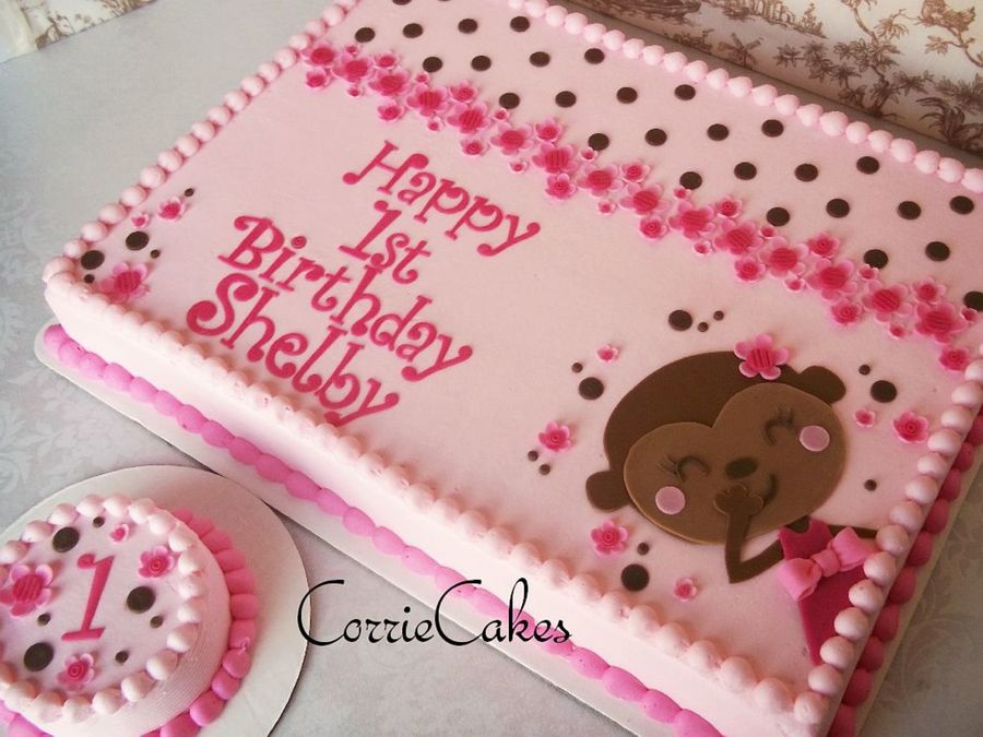 Pink/brown Girly Monkey on Cake Central