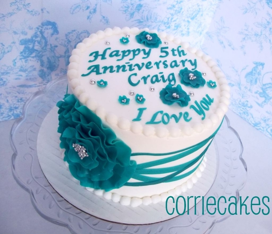 Teal And Silver Anniversary on Cake Central
