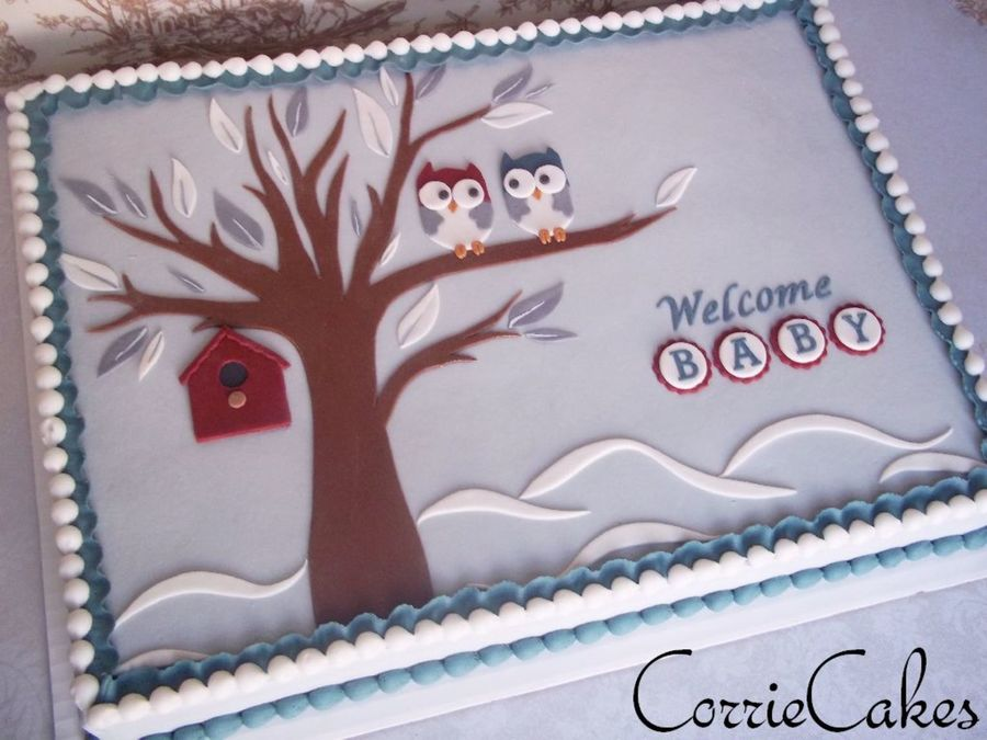 Winter Owls Baby Shower Cakecentral