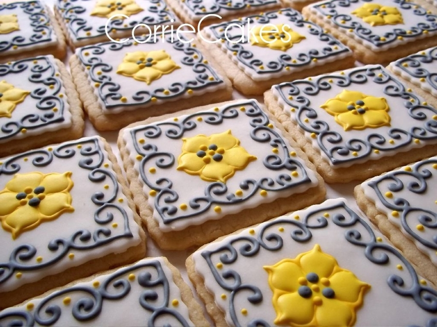 Gray And Yellow Bridal Shower Cookies on Cake Central