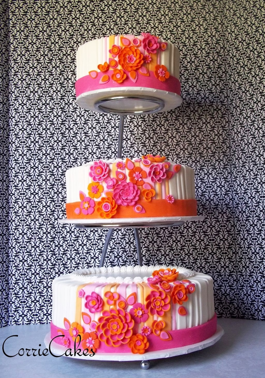 Three Tiers Set On An E Style Cake Stand Iced In BC With MMF Decorations Had To Travel 7hrs Receptionand It Actually Survived So Thankful