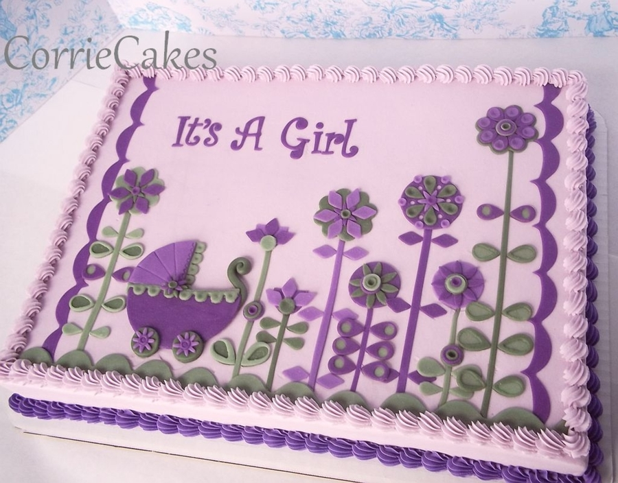 Retro Flowers And Baby Buggy  on Cake Central