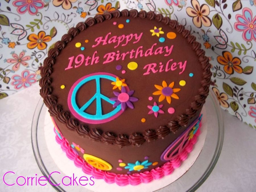 Happy Peace Signs on Cake Central