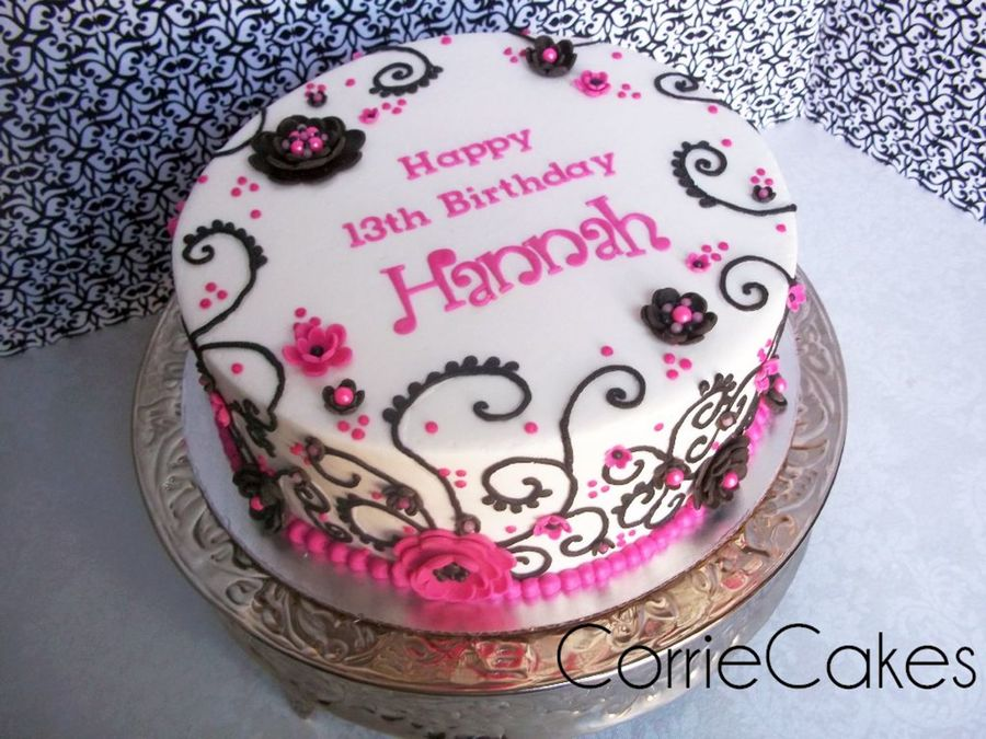 Pink/black Flowers/swirls on Cake Central