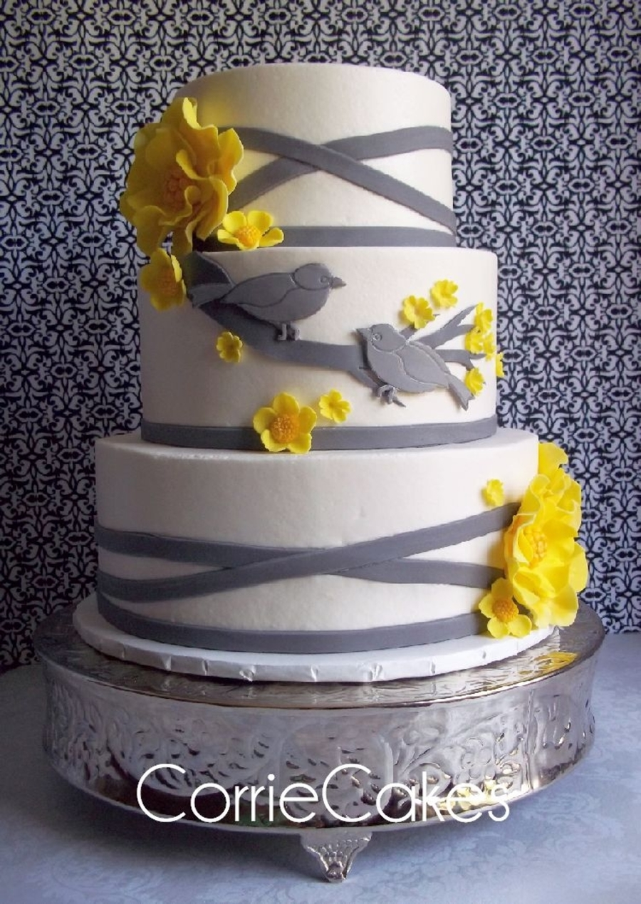 wedding cakes yellow and grey yellow gray bird theme wedding cakecentral 26162