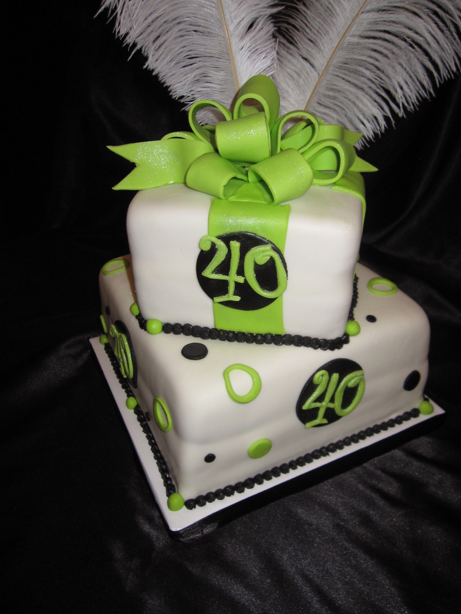 40Th Birthday Lime And Black With Ostrich Feathers on Cake Central