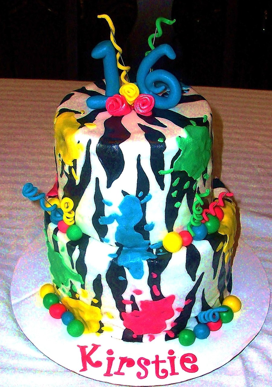 Zebra Paintball Cake on Cake Central