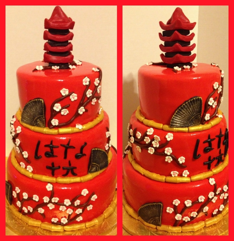 Japanese Themed Sweet 16 Cake , CakeCentral.com