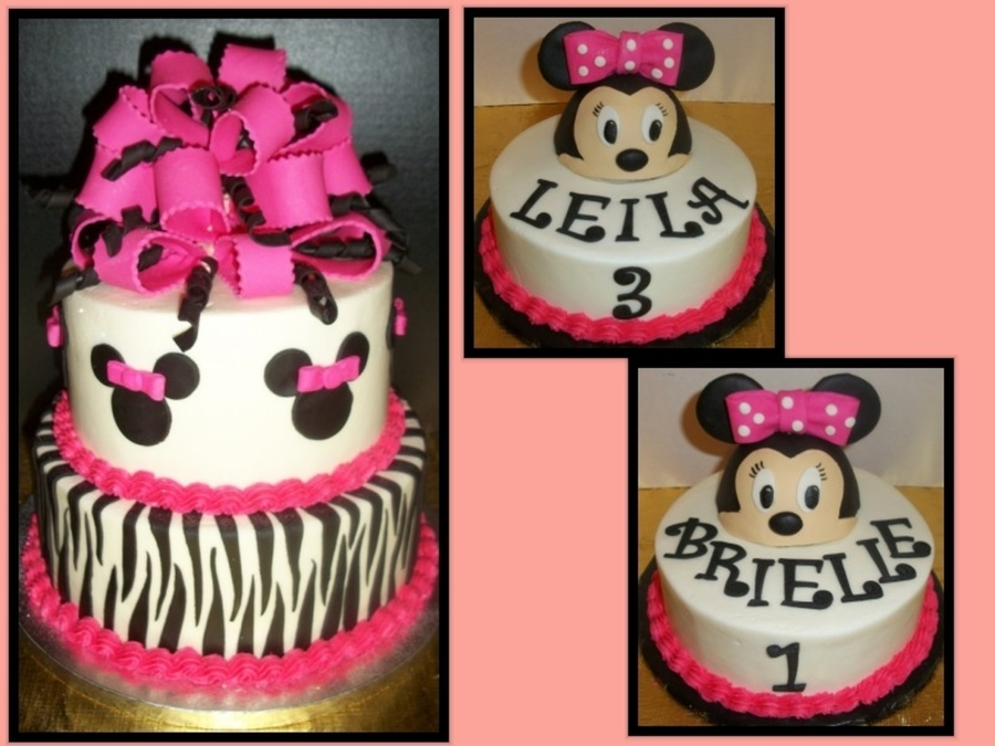 Pink & Zebra Minnie Mouse Cake With Matching Individual Cakes on Cake Central