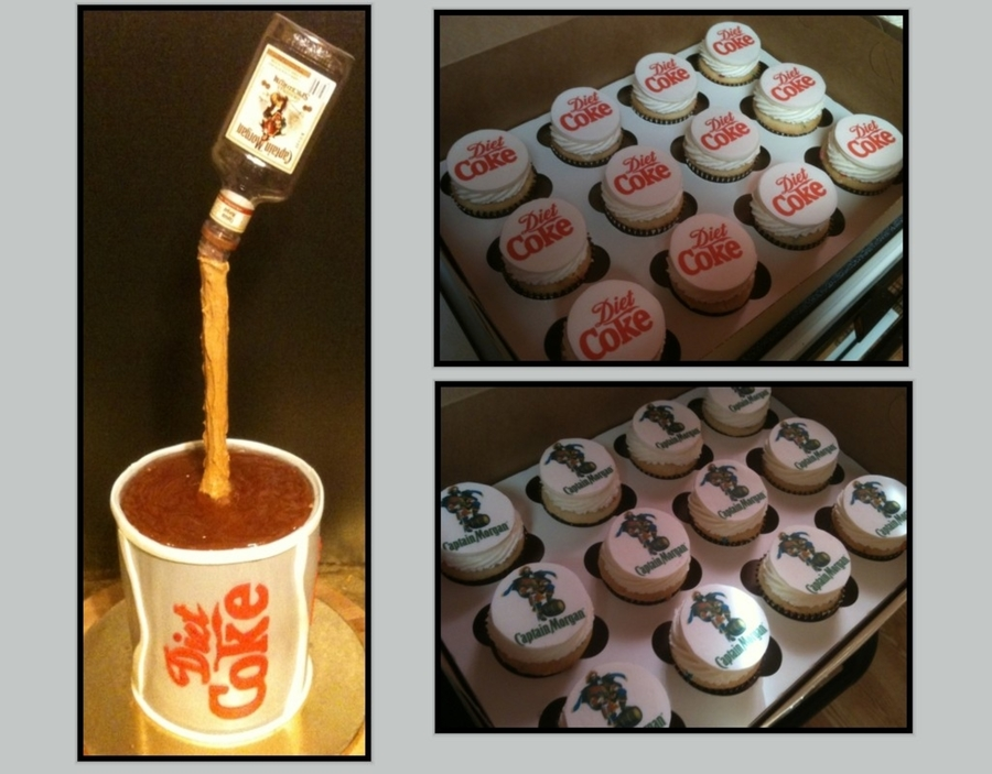 Captain Morgan & Diet Coke Cake With Matching Cupcakes  on Cake Central