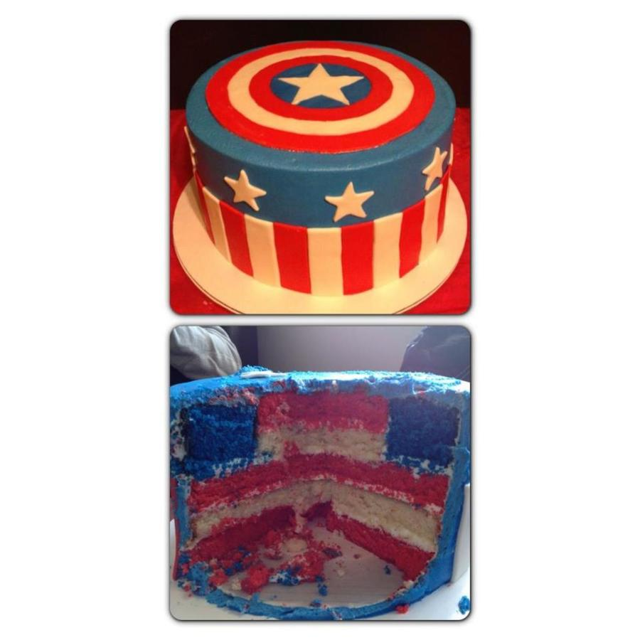 Captain America With Flag Inside  on Cake Central