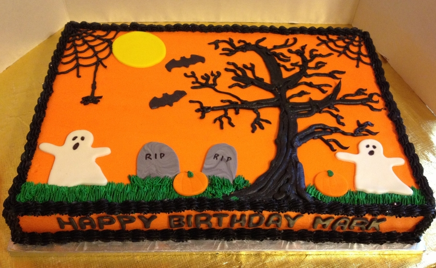 Halloween Birthday Sheet Cake on Cake Central