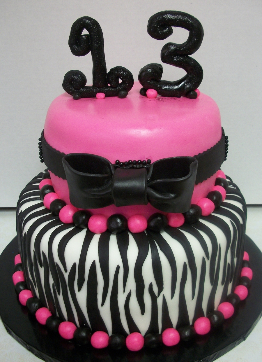 13 Th Bday Pink/zebra on Cake Central