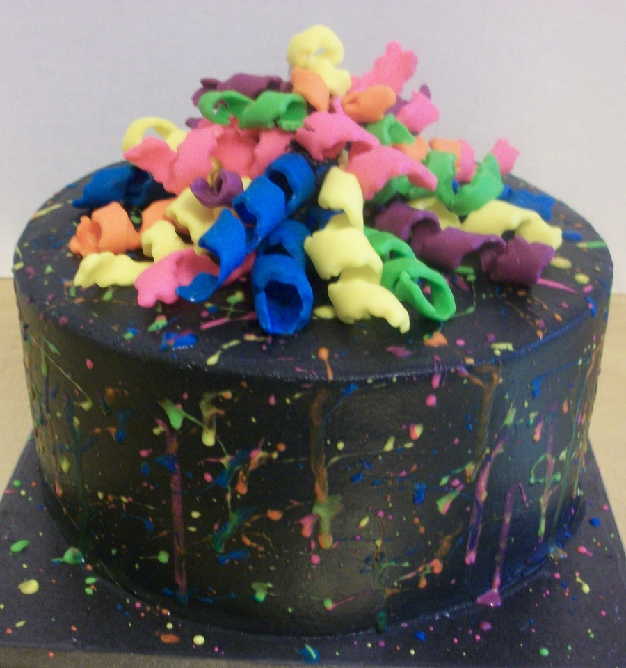 Spatter Paint Cake on Cake Central