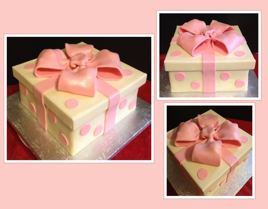 Pink Gift Box Baby Shower Cake on Cake Central
