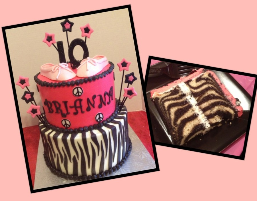Pink & Zebra Cake Inside And Out  on Cake Central