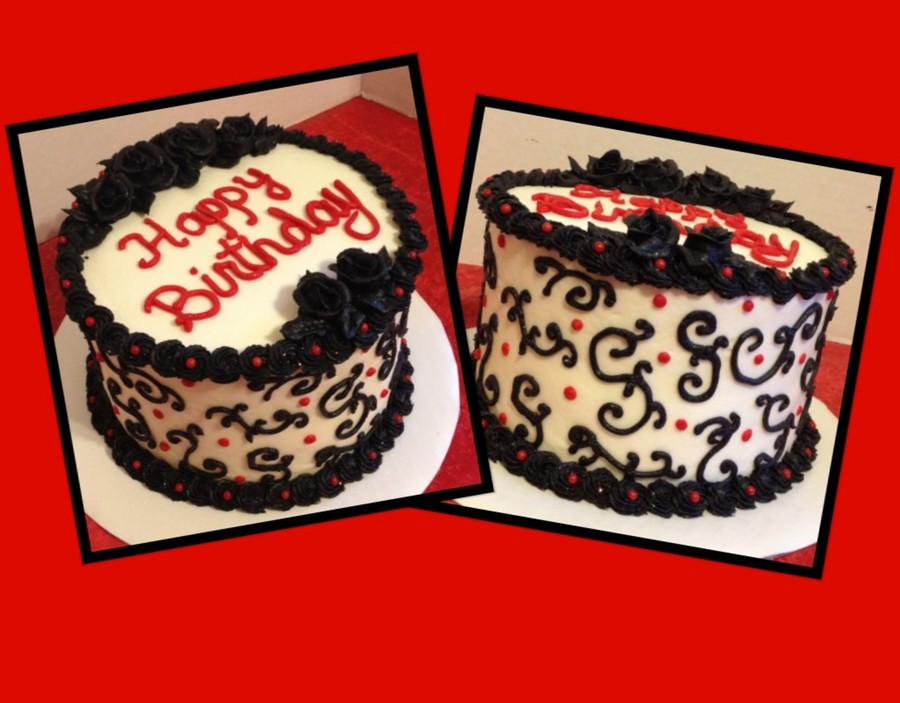 Black Scroll Birthday Cake on Cake Central