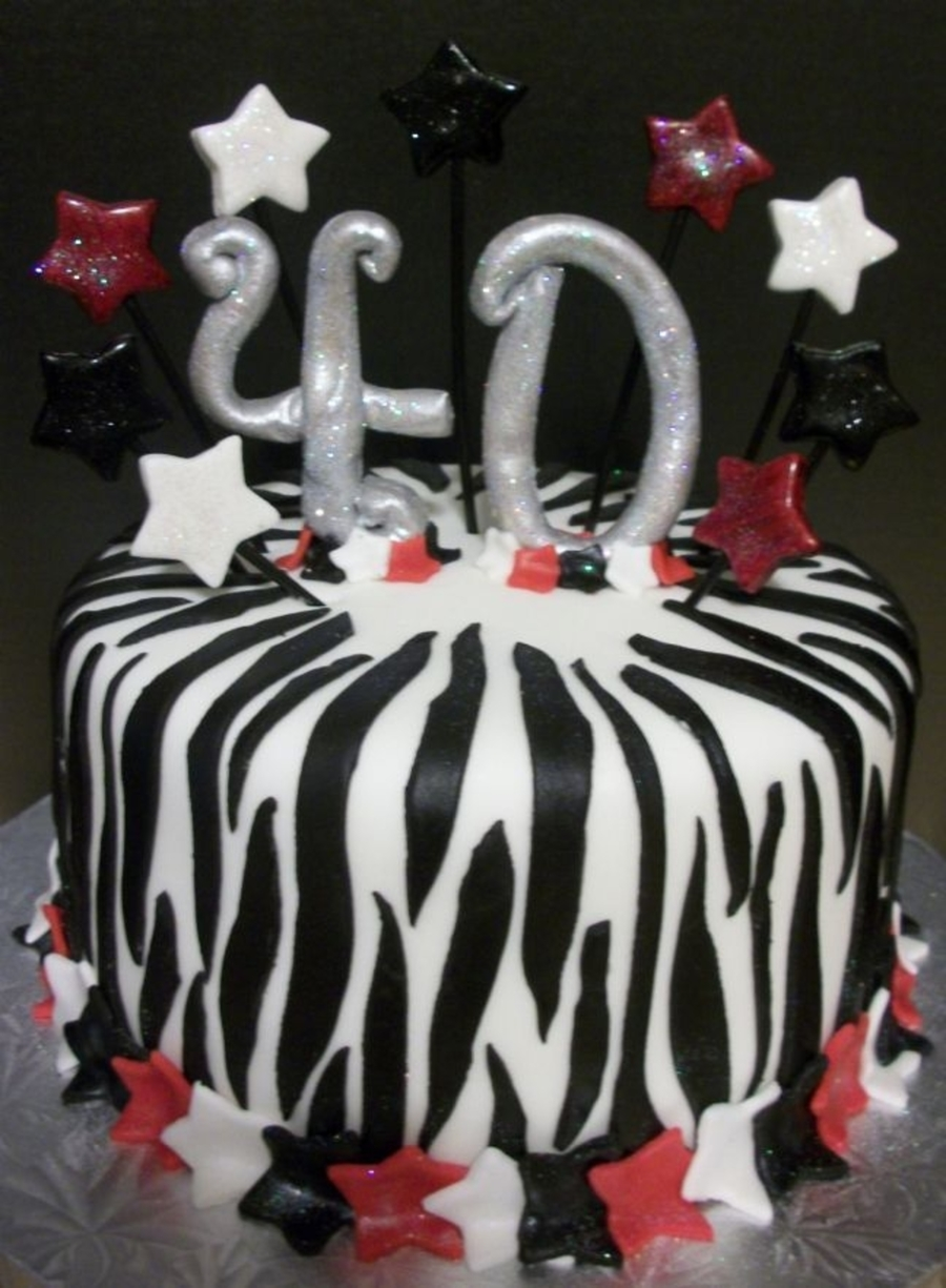 Zebra Print 40Th Birthday Cake on Cake Central