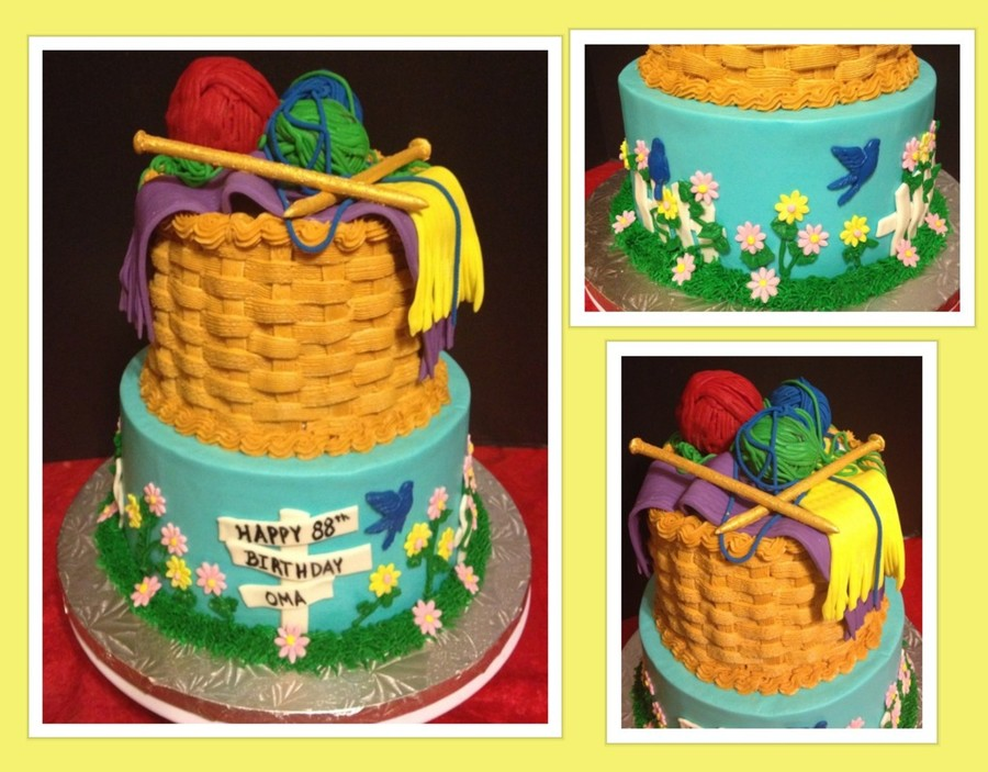 Knitting Basket/garden Birthday Cake on Cake Central