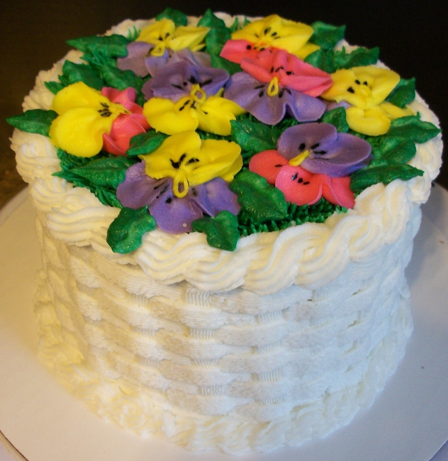 Pansy Basket Cake on Cake Central