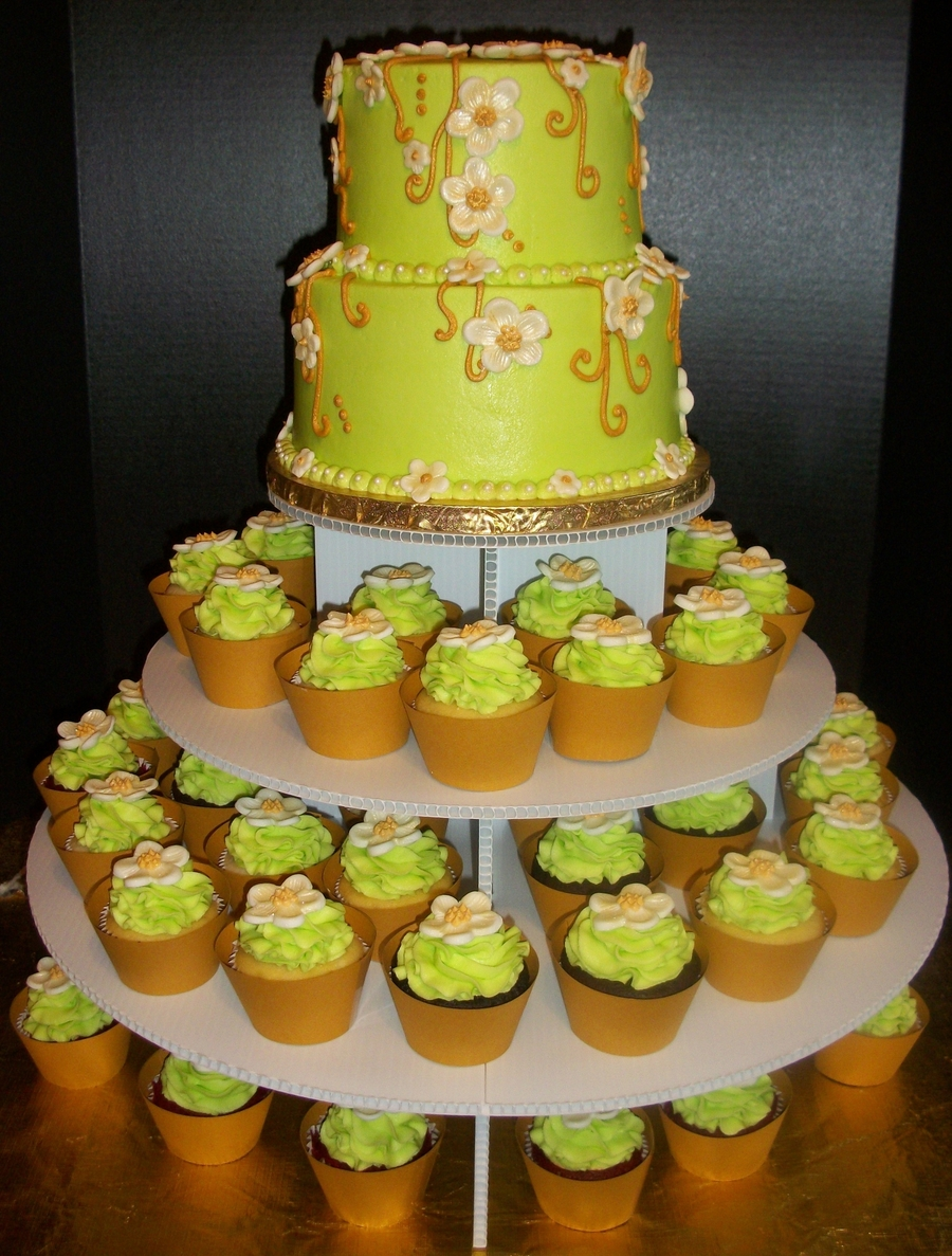 Green Floral Cake And Cupcake Display on Cake Central