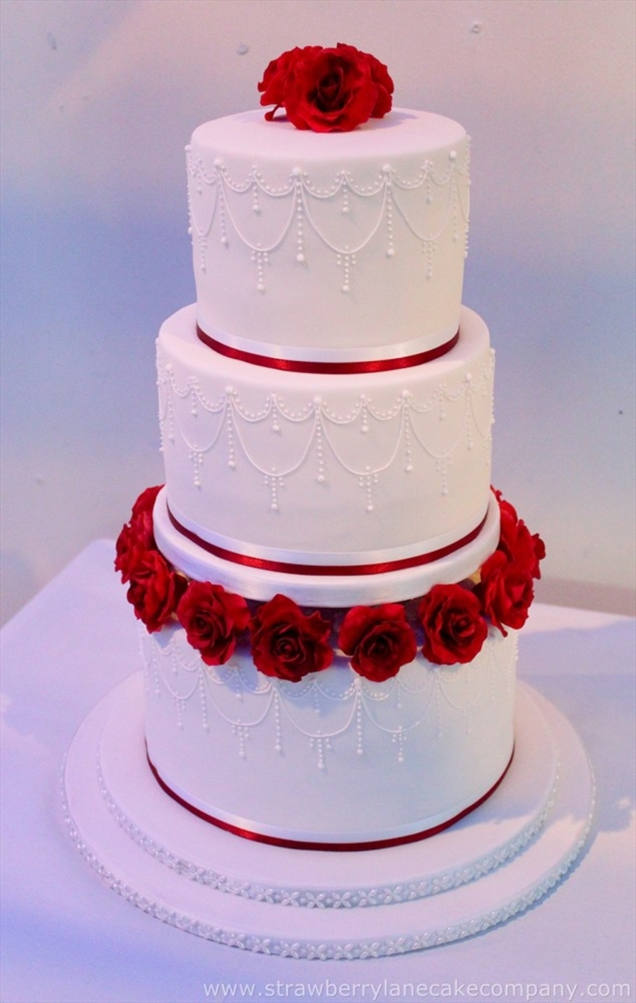 roses and piped detail 3 tier wedding cake - cakecentral