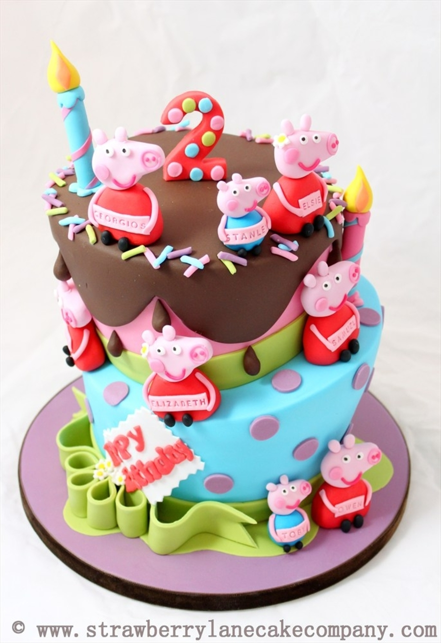 Peppa Pig And George Joint 2Nd Birthday Cake For 6 Babies